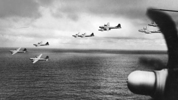 A group of B-29 bombers are in flight over the Pacific Ocean en route to Saipan, on January 15, 1945.