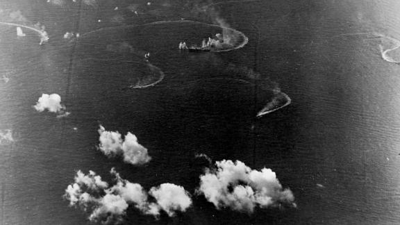 Planes from a Japanese fleet battle planes and ships of US Task Force 58 during operations off Saipan in the Marianas in 1944.