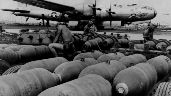 24th November 1944:  'Dauntless Dottie,' one of America's B29 Superfortress bombers, is made ready for a bombing run on Tokyo. Here on Saipan Island, in the Mariana Islands, the bombs are loaded that will convince the Japanese that America is serious in its intent to win the war.