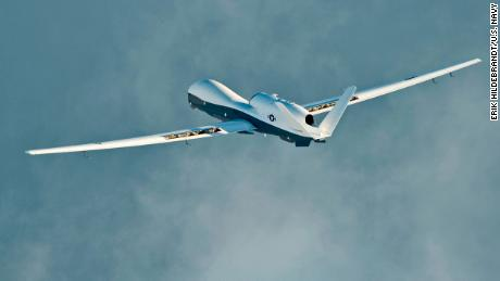 MQ -4C Triton unmanned aircraft complements its initial cross-country ferry service at Naval Air Station Patuxent River, Maryland.