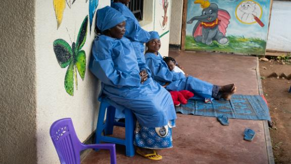 Ebola survivors at a nursery in Beni, Eastern DRC. Many are stigmatized in their communities but play a critical roll in taking care of young children whose parents are sick.