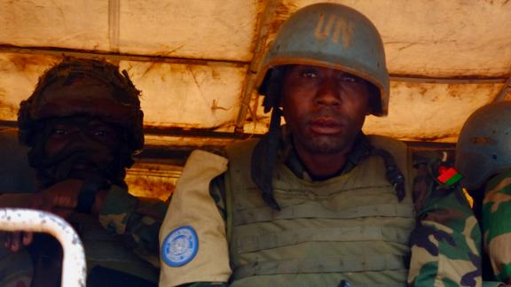 Malawian UN peacekeepers in a transport vehicle near Butembo, Eastern DRC. Despite the presence of a robust force, Eastern Congo has been wracked by violence for decades.