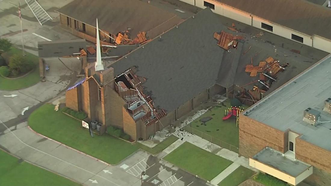 A possible tornado tore into a Texas church as teens huddled inside