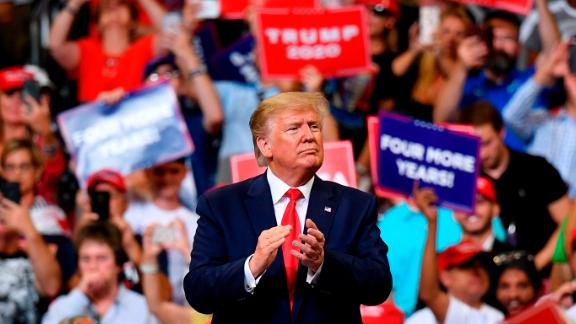 TOPSHOT - US President Donald Trump gestures after a rally at the Amway Center in Orlando, Florida to officially launch his 2020 campaign on June 18, 2019. (Photo by MANDEL NGAN / AFP)        (Photo credit should read MANDEL NGAN/AFP/Getty Images)