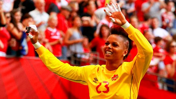 VANCOUVER, BC - JUNE 21:  Karina LeBlanc #23 of Canada waves to the fans after Canada's win at the FIFA Women's World Cup Canada 2015 Round 16 match between Switzerland and Canada June 21, 2015 at BC Place Stadium in Vancouver, British Columbia, Canada. Canada won 1-0.  (Photo by Jeff Vinnick/Getty Images)