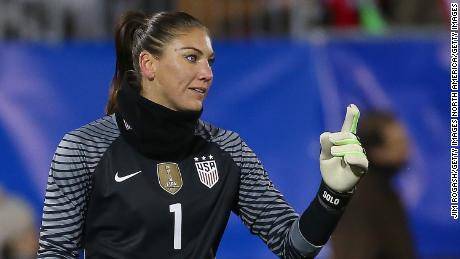 EAST HARTFORD, CT- APRIL 6:  Hope Solo #1 of United States of America gestures during an international friendly soccer match against Colombia at Pratt & Whitney Stadium on April 6, 2016 in East Hartford, Connecticut. (Photo by Jim Rogash/Getty Images)