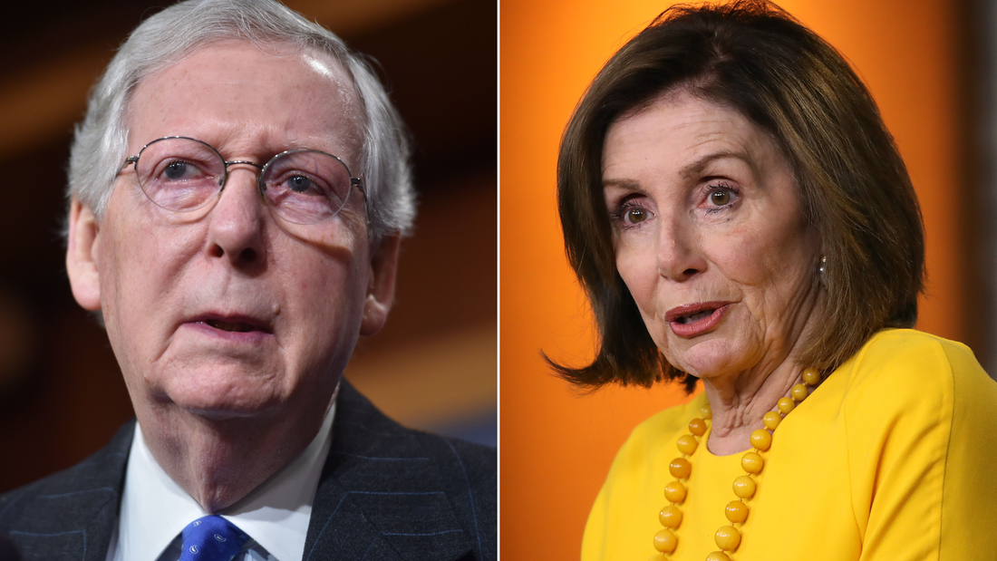 Senate Majority Leader Mitch McConell (at left) and House Speaker Nancy Pelosi (at right). Congress sent a continuing resolution to President Donald Trump on Thursday for his signature.