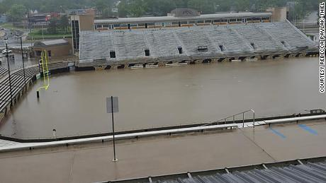 Heavy rains flooded Western Michigan University's football stadium early Thursday.