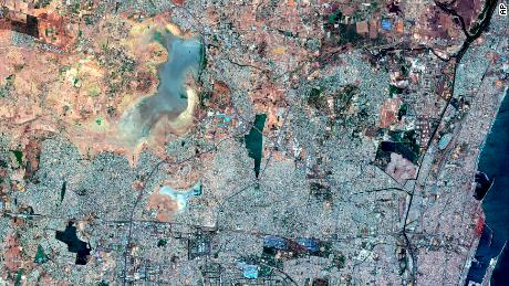 This satellite image on June 15, 2019 shows the drying Puzhal reservoir in Chennai.