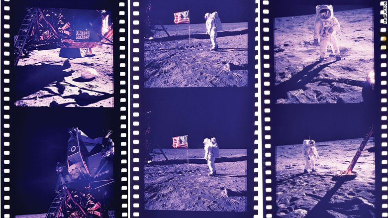 A 70 mm film roll include pictures taken by Aldrin and Armstrong.