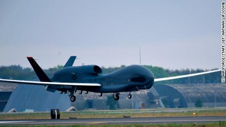 An RQ-4 Global Hawk from Andersen Air Force Base, Guam, lands at Misawa Air Base, Japan, May 24, 2014. The aircraft is part of the 69th Reconnaissance Group Detachment 1 and is the first Global Hawk to land in Japanese territory. (U.S. Air Force photo/Staff Sgt. Nathan Lipscomb