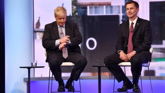 Johnson and Foreign Secretary Jeremy Hunt take part in the Conservative Leadership debate in June 2019.