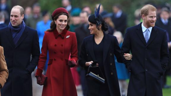 William, Kate, Meghan and Harry pictured at the Church of St Mary Magdalene on the Sandringham estate on Christmas day in 2018.