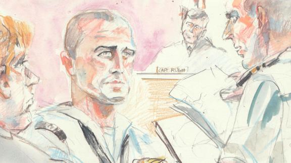 Corey Scott, a Navy SEAL medic (center with shaved head looking forward), testified Thursday in the military court trial of Chief Special Warfare Operator Eddie Gallagher who is accused of stabbing and killing an ISIS prisoner in Iraq in 2017. Sketch credit: Krentz Johnson