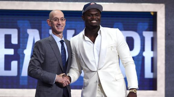Zion Williamson with NBA Commissioner Adam Silver after being selected the first overall pick by the New Orleans Pelicans during the NBA draft in New York.