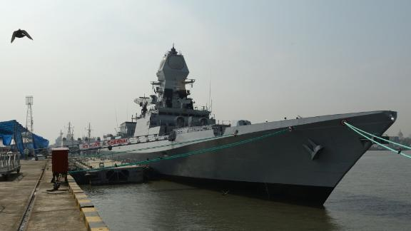 The Indian guided-missile destroyer INS Chennai is shown ahead of its commissioning into the Indian Navy in Mumbai on November 18, 2016. The ship is heading to the Gulf of Oman to help protect Indian shipping from the attacks that have been happening there.