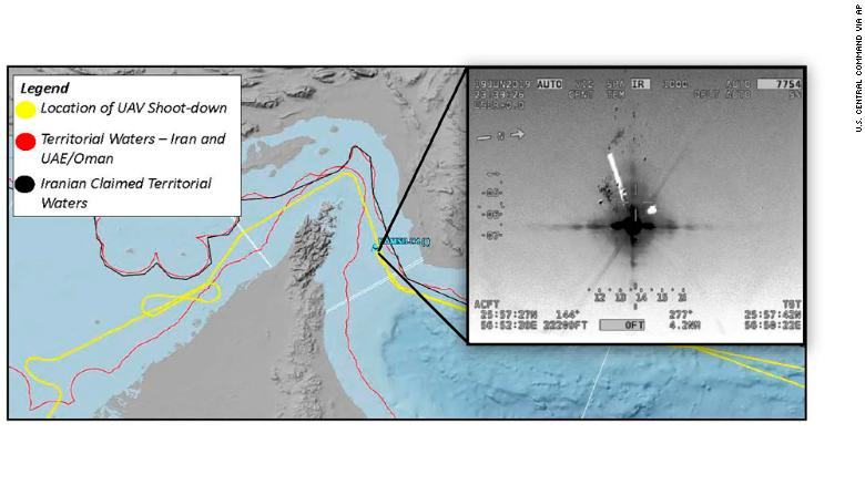 This image released by the U.S. military's Central Command shows what it describes as the flight path and the site where Iran shot down a US drone in the Strait of Hormuz on Thursday, June 20, 2019.