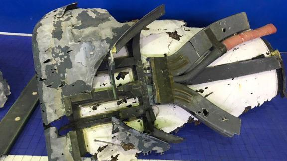 An Iranian media outlet released this image on Friday that purportedly shows pieces of the US drone that was shot down.