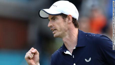 LONDON, ENGLAND - JUNE 20: Andy Murray of Great Britain partner of  Feliciano Lopez of Spain celebrates during their mens doubles first round match against Juan Sebastian cabal of Columbia and Robert Farah of Columbia during day four of the Fever-Tree Championships at Queens Club on June 20, 2019 in London, United Kingdom. (Photo by Alex Pantling/Getty Images)