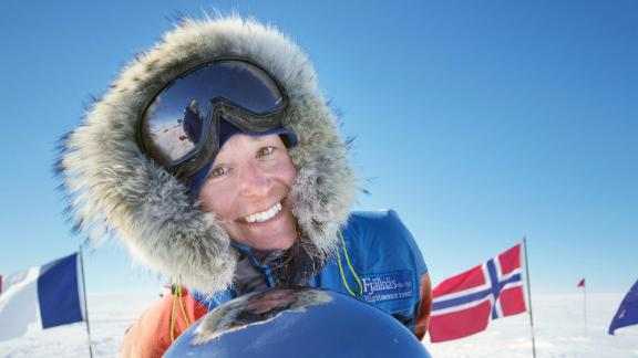 Davidsson at the geographic South Pole. The Swede arrived on Christmas Eve 2016 after just shy of 39 skiing.