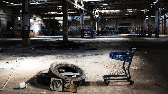 """WATERBURY, CT - OCTOBER 21:  The remaining interior of a shuttered factory connected to the brass industry stands in what was once a vibrant manufacturing city on October 21, 2018 in Waterbury, Connecticut. Known as """"Brass City"""", Waterbury, like many manufacturing cities in America, started to see a decline in manufacturing following World War II. Today the city is seeking funds to tear down many of the remaining factories as they have become sources of arson fires and are increasingly unsightly. Since 2011 Waterbury has knocked down around a dozen old factories.  (Photo by Spencer Platt/Getty Images)"""