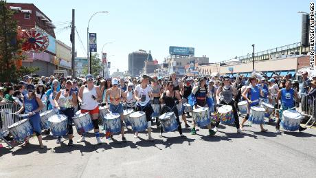 A marching band plays during the 2018 Mermaid Parade.