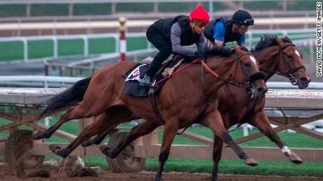 Jockeys take racehorses on a morning workout at Santa Anita, where horses have died after training and racing.