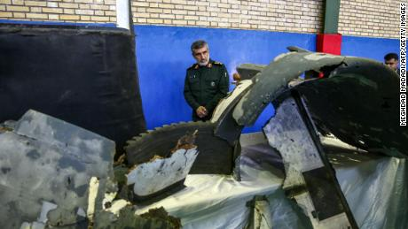 Iran's Islamic Revolutionary Guards Corps released images of what it says are pieces of the US drone shot down Thursday