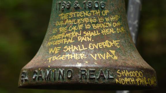 The El Camino Real bell marker appears up close before its removal Friday at UC Santa Cruz.