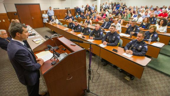 Democratic Presidential candidate and South Bend, Indiana Mayor Pete Buttigieg speaks to newly sworn in police officers on Wednesday, June 19, 2019, at the South Bend Police Department.