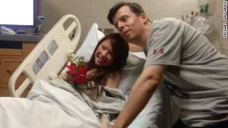 Michael Gallardo and Maria Margaritondo said their vows from her hospital bed, just before doctors rushed her into the delivery room.