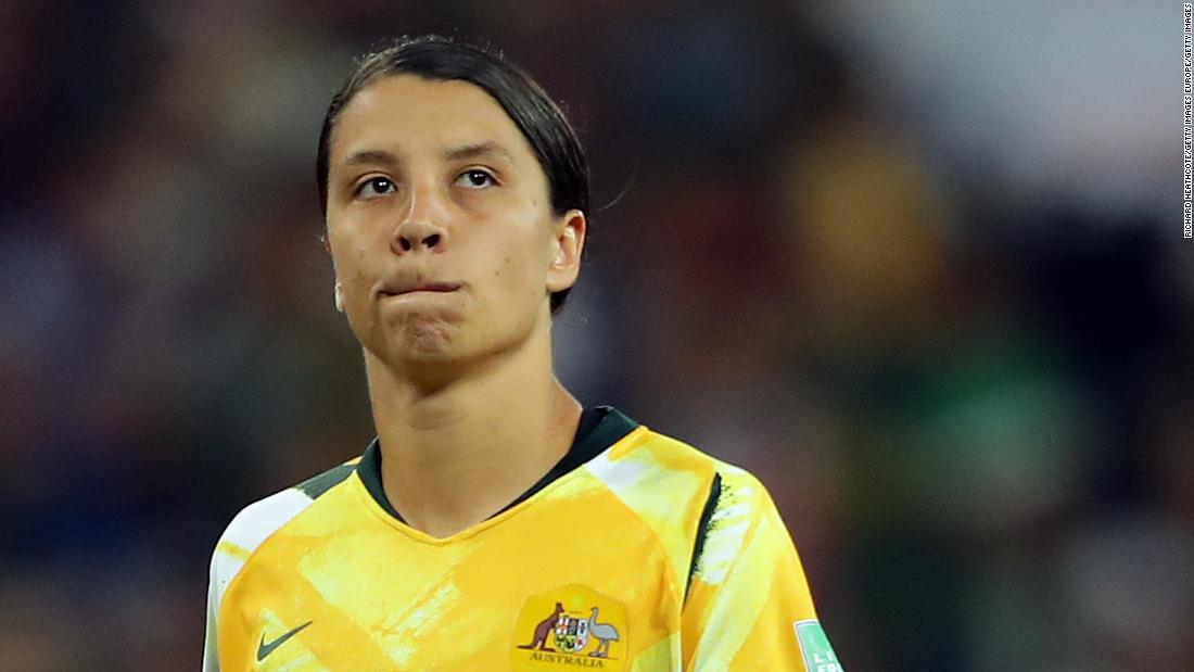 An abject Sam Kerr after sending her penalty effort high and wide in the shoot-out against Norway.