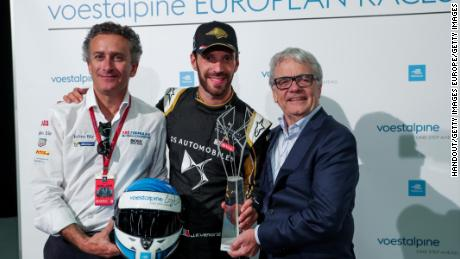 Jean-Eric Vergne (FRA) receives the Voestalpine Trophy after his victory in the Bern E-Prix.