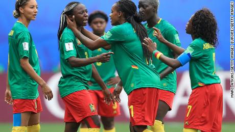Ajara Nchout of Cameroon is distraught after her goal is ruled out for offside following a VAR check.