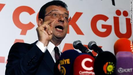Ekrem Imamoglu candidate of the secular opposition Republican People's Party makes statements at CHP offices in Istanbul, Sunday, June 23, 2019. A former Turkish prime minister backed by Turkey's ruling party has conceded defeat and congratulated Imamoglu in Istanbul's repeated mayoral election. (AP Photo/Burhan Ozbilici)