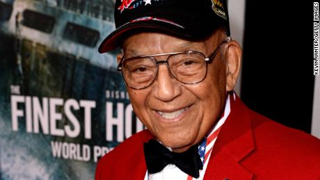 "Robert Friend, one of the original members of the famed Tuskegee Airmen, at the premiere of Disney's ""The Finest Hours"" in 2016."