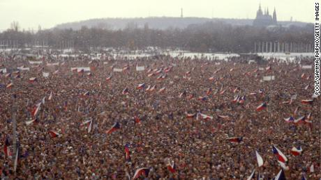 Protesters in the Letna plain on November 25, 1989. Three decades later, the plain was filled again with protesters.