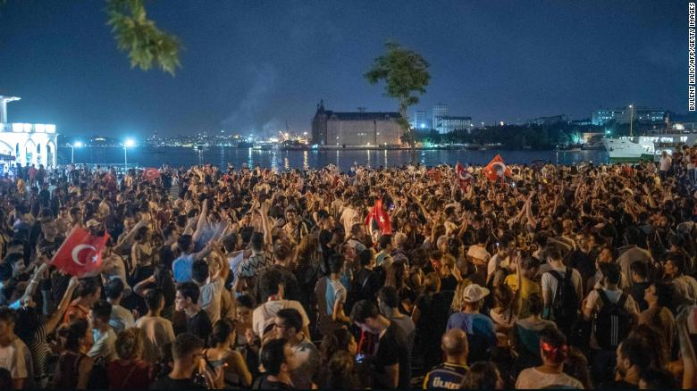 Celebrations lasted into the night at Kadikoy in Istanbul after results came in from the election re-run.