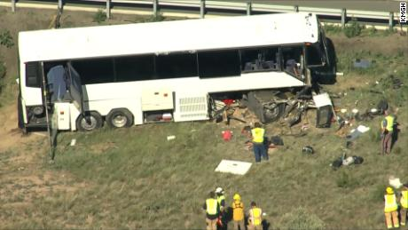 A church charter bus carrying 10 adults and five children crashed in Pueblo, Colorado, Sunday, June 23, 2019. Two people died as a result of the crash.