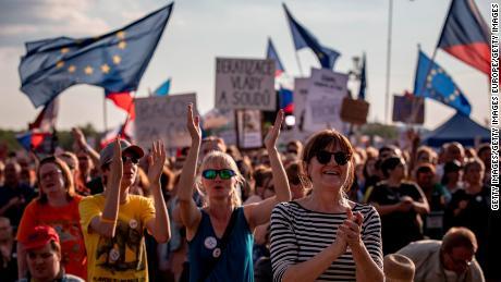 Protesters in Prague demand resignation of Prime Minister Andrej Babis.