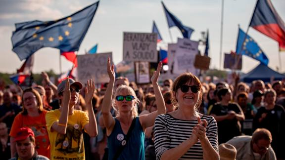 Protesters in Prague are demanding the resignation of Prime Minister Andrej Babis.