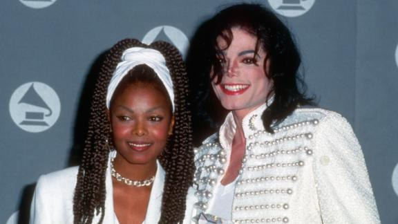 Janet Jackson attends the Grammys with brother Michael in 1993.