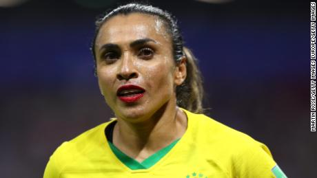 LE HAVRE, FRANCE - JUNE 23: Marta of Brazil looks on during the 2019 FIFA Women's World Cup France Round Of 16 match between France and Brazil at Stade Oceane on June 23, 2019 in Le Havre, France. (Photo by Martin Rose/Getty Images)