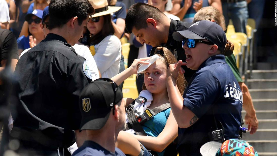 A fan was hit in the head by a foul ball at Dodger Stadium