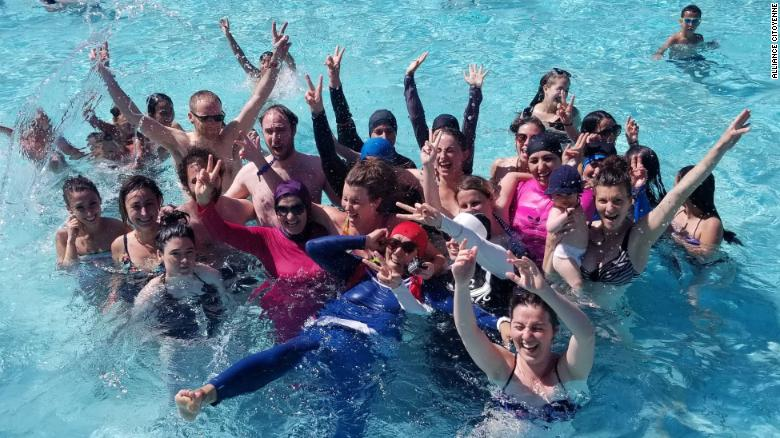 65f92bb0ea French Muslim women wear burkinis to the pool as an act of protest - CNN