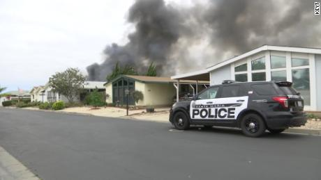 A mobile home was set on fire in Santa Maria, California on Friday, June 21, 2019.