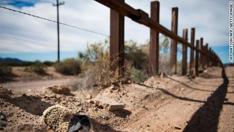 A file photo from February 2017 is shown the border fence outside Lukeville, Arizona.