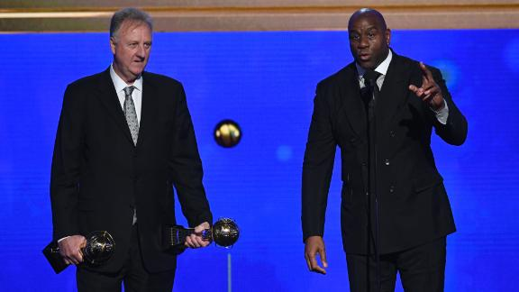 Larry Bird and Magic Johnson accept the Lifetime Achievement Awards onstage during the 2019 NBA Awards.