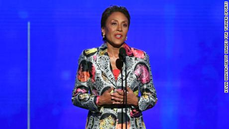 SANTA MONICA, CALIFORNIA - JUNE 24: Robin Roberts accepts the Sager Strong Award onstage during the 2019 NBA Awards presented by Kia on TNT at Barker Hangar on June 24, 2019 in Santa Monica, California. (Photo by Kevin Winter/Getty Images for Turner Sports)