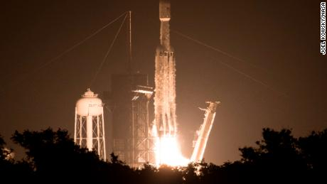 """A SpaceX Falcon Heavy rocket carrying 24 satellites as part of the Department of Defense's Space Test Program-2 (STP-2) mission launches from Launch Complex 39A, Tuesday, June 25, 2019 at NASA's Kennedy Space Center in Florida. Four NASA technology and science payloads which will study non-toxic spacecraft fuel, deep space navigation, """"bubbles"""" in the electrically-charged layers of Earth's upper atmosphere, and radiation protection for satellites are among the two dozen satellites that will be put into orbit. Photo Credit: (NASA/Joel Kowsky)"""